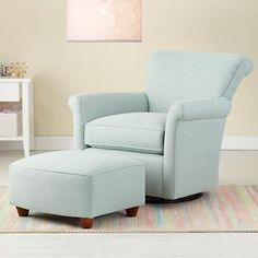 In the Nursery?   Gliders: Blue Swivel Glider Chair and Ottoman in Upholstered Seating