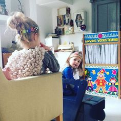 Waiting for the curtains to open. #puppettheater #sisters #sunday