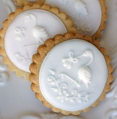 Stork cookies perfect for a baby shower.