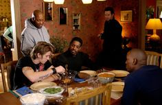 John Singleton with Garrett Hedlund, Andre Benjamin, Mark Wahlberg and Tyrese Gibson on-set Four Brothers (2005)