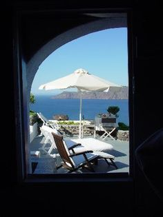 View from our private terrace ....Ikies Traditional houses Santorini Greece