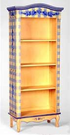 Hand Painted Furniture – Bookcases  I love the blue gingham