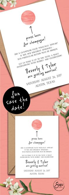 Champagne, anyone? One of the best parts of any wedding celebration! Let guests know they are in for some FUN at your wedding celebration with this funny Save the Date! For more details or to purchase, visit www.etsy.com/listing/486028839/fun-printable-save-the-date-funny. Design by Smitten Paper Co.