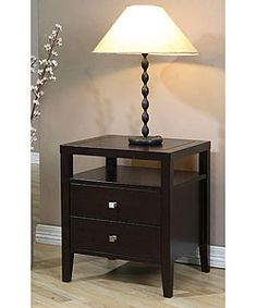 @Overstock.com - Aristo 2-drawer Nightstand - This brown two-drawer nightstand looks elegant in any bedroom. The two drawers and a shelf provide ample storage space for magazines and alarm clocks. The rubberwood stand is durable and looks charming, so it's sure to suit the room.   http://www.overstock.com/Home-Garden/Aristo-2-drawer-Nightstand/2676395/product.html?CID=214117 $159.99