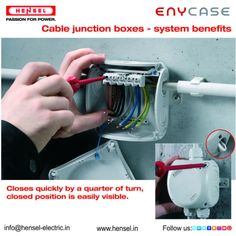 Cable Junction Boxes that closes quickly by a quarter of a turn where the closed position is easily visible. Junction Boxes, Benefit, Cable, Electric, India, Cabo, Goa India, Cords, Electrical Cable