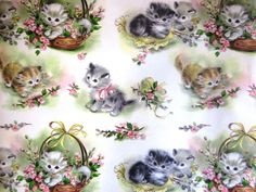 Vintage Wrapping Paper - Two partial sheets - Best Wishes Kitten Gift Wrap Vintage Cat, Vintage Gifts, Vintage Images, Vintage Birthday Cards, Vintage Greeting Cards, Vintage Wrapping Paper, Vintage Paper, Cat Background, Cat Cards