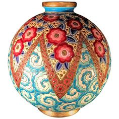 Rare French Art Deco Ceramic Vase by Longwy 1