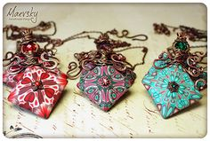 Gorgeous polymer clay and copper pendants by Russian Artist Maevsky