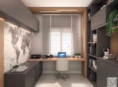 Modern grey home office with light wood accents. Simple and modern home office design using grey cabinetry and light wood accents. House Design, Home, Small Home Offices, Nyc Interior Design, Modern Office Interiors, Study Room Design, Office Interior Design, Trendy Home, Office Design