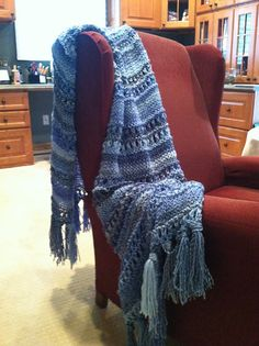 Another beautiful knitted shawl.  Hope mine turns out similar and I hope I can find the right yarn! - Ravelry: Double Eyelet Stitch Prayer Shawl pattern by Louis Chicquette