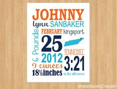 8x10 Custom Birth Print Baby Announcement by SimpleandStunning2, $20.00