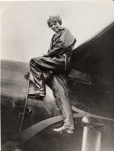 "Amelia Earheart and her Lockheed Vega 5b ""Old Bessie"" (c. 1935).  Photo from the archives of Purdue University Library"
