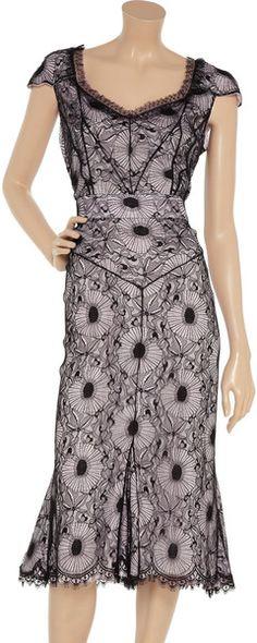 EMANUEL UNGARO dress of pale pink crepe under black lace. Sweetheart neckline and cap sleeves