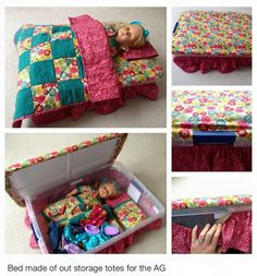 Turn a storage tub into Doll Bed with storage for doll clothes & dolls...
