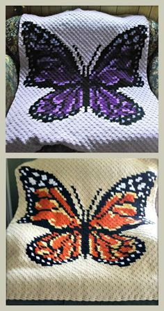 Crochet Patterns Afghans Beautiful Butterfly afghan crochet pattern looks gorgeous in shades of purple or similar to a Monarch butterfly This Crochet Pattern includes basic instructions for the corner to corner, graph and written row by row color counts. Crochet C2c, C2c Crochet Blanket, Crochet Baby, Free Crochet, Crochet Afghans, Crochet Blankets, Corner To Corner Crochet Pattern, Butterfly Baby, Monarch Butterfly