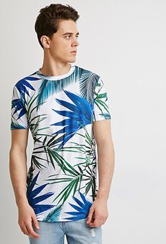 Tropical Curved-Hem Tee   Forever 21 - 2049258997