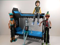 Monster High Furniture - BLUE Dorm Bunk Bed 1 by monsterminicustoms.deviantart.com on @deviantART