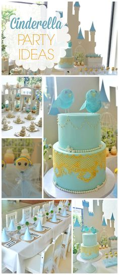 Such a gorgeous Cinderella girl birthday party! See more party ideas at CatchMyParty.com! Add Some Mehlenbachers Taffy to the celebration Blue Cotton candy would make the perfect magic wand