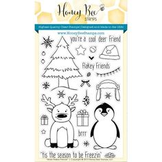 Honey Bee MORE FLAKEY FRIENDS Clear Stamp Set HBST17