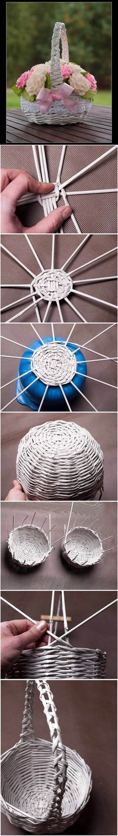DIY Newspaper Tubes Weaving Basket