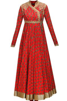 Rohit Bal - Red block printed angrakha style anarkali set available only at Pernia's Pop-Up Shop. Western Dresses, Indian Dresses, Indian Outfits, Fashion Designer, Indian Designer Wear, Latest Designer Sarees, Designer Dresses, Indian Attire, Indian Wear