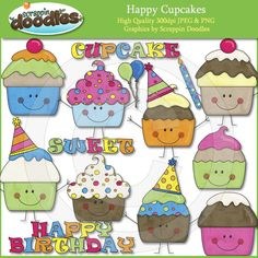 Happy Cupcakes Clip Art Download - $3.50 : Scrappin Doodles, Creative Clip Art, Websets & More