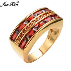 Handsome 10 K Gold Filled Ruby Red Men's Ring