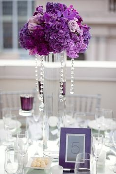 Tall Wedding Centerpieces Royal Blue | TinyCarmen Purple Reception Centerpieces