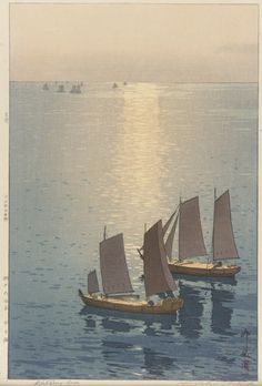 """Working in series: """"Glittering Sea,"""" from the Inland series. Yoshida Hiroshi (Japanese, 1876-1950). Japan, Taisho era, 1926. Woodblock print; ink and color on paper."""
