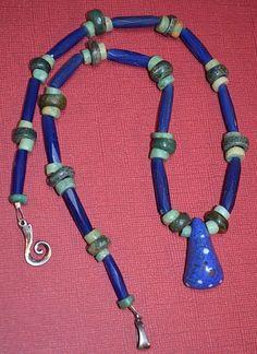 Antique Mauritanian Kiffa Bead Necklace Ancient Amazonite Serpentine Stone Beads