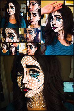 DIY pop art makeup. First Halloween look! My first time creating this Comic book cartoon pop art look.