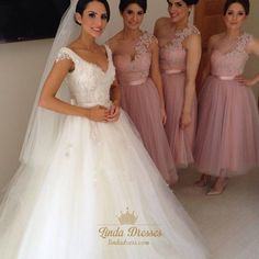 lindadress.com Offers High Quality Pink Tea-Length Tulle One Shoulder Bridesmaid…