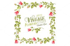Vintage flower frame over white by Romantic Vintage Flowers on Creative Market