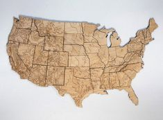 Wooden topographical Map of the USA