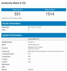 Motorola Moto E4 visits Geekbench. Specifications inside
