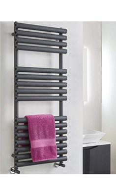 Phoenix Tubo Vertical Designer Electric Towel Rail – Anthracite – 1200 x – Cute and Trend Towel Models Electric Towel Rail, Electric Radiators, Bath Panel, Large Baths, Heated Towel Rail, Shower Screen, Glass Shower, Baseboards, Phoenix