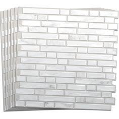 shop smart tiles white silver composite vinyl mosaic subway wall tile common x actual x