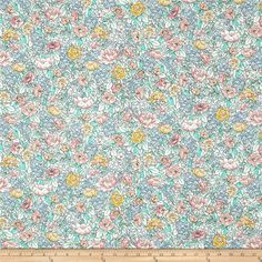 Kaufman London Calling Lawn Flowers Pastel from @fabricdotcom  Designed for Kaufman Fabrics, this very lightweight fabric is a finely woven, high count combed cotton lawn that is very soft and has an ultra smooth hand. It is perfect for flirty blouses, dresses, shirts, lingerie, tunics, tops and even quilting. Colors include white, pastel green, grey, pink, orange, yellow, and grey.