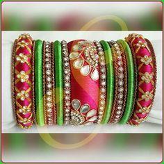 Silk Thread Bangles Design, Silk Thread Necklace, Thread Jewellery, Kundan Bangles, Silk Bangles, Diy Jewelry, Handmade Jewelry, Jewelery, Bangle Set