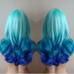 Wonderful blue ombre hair color idea, sea green + dark blue amazing mermaid hair style to try~ teal hair dye