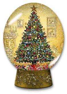 CHRISTMAS TREE, SNOW GLOBE GIF