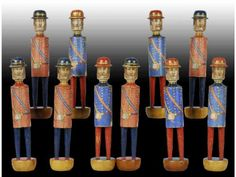 Wood Guards Antique Toy Skittle Set