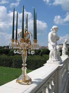 Extravagant outdoor lighting - we love this gilded candelabra! Candelabra, Candlesticks, Outdoor Lighting, Outdoor Decor, Statue Of Liberty, Fountain, Fall, Candle Holders, Statue Of Liberty Facts