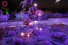 Modern Circular high Centerpiece with Pink and Purple flowers