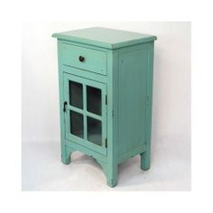 End Table Wooden Cabinet Glass Insert Storage Antique Distressed Accent Chest - Nightstands @Stephanie Close Wein