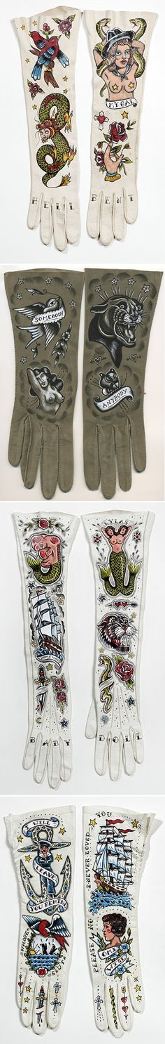 ellen greene - vintage gloves painted with tattoos.