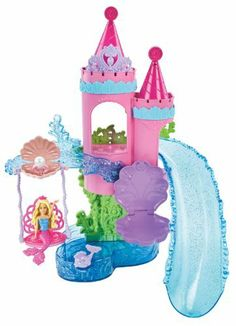 Barbie Splash and Slide Bath Playset by Mattel. $21.99. From the Manufacturer                Barbie Splash and Slide Bath Playset: Girls can discover the Barbie Fairytale Magic in the bathtub with this castle-inspired water toy. Sized for both Small Doll and Fashion Doll Mermaids, there are plenty of play areas to make a splash. Take a mini-mermaid down the translucent glittery slide or set her on a swing, Fashion Dolls can also ride the slide or enjoy their own seashell seat. ...