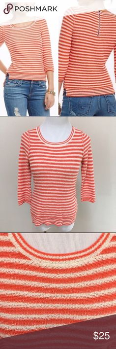 """HWR Monogram Anthro Stacked Latitudes Sweater S HWR Monogram Anthropologie Orange Stacked Latitudes Striped Knit Sweater Small. Excellent condition! Zip back. Clean and comes from smoke free home. Questions welcomed! Armpit to armpit: 15.5"""" across Sleeve length: 17"""" Length: 22.5"""" Anthropologie Sweaters Crew & Scoop Necks"""