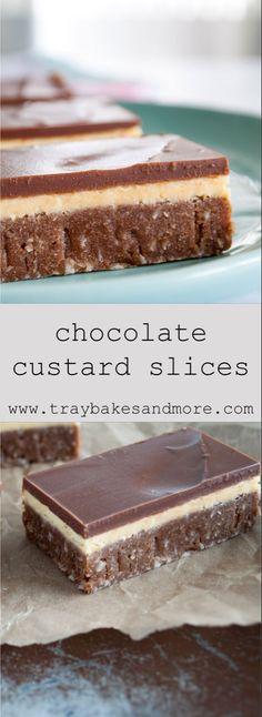 Chocolate Custard Slices - a simple, no-bake traybake Tray Bake Recipes, Baking Recipes, Cake Recipes, Dessert Recipes, Fudge Recipes, Chocolate Traybake, Chocolate Slice, Chocolate Custard Pie Recipe, Chocolate Orange
