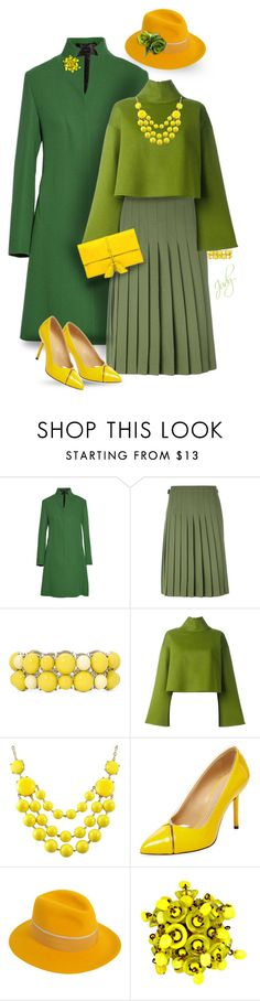"""""""Green with Yellow"""" by judymjohnson ❤ liked on Polyvore featuring Derek Lam, Le Kilt, Mixit, Bally, Charlotte Olympia, Maison Michel, Miriam Haskell and Ralph Lauren"""